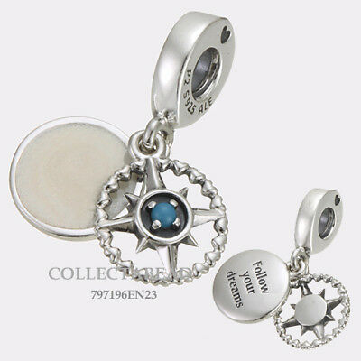Authentic Pandora Silver Compass Rose Enamel Bead 797196EN23 NEW SUMMER 2018!