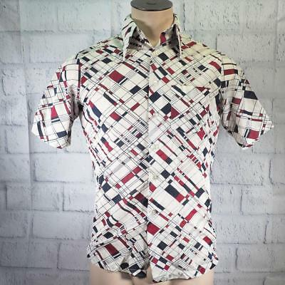 Vtg Swing Free Disco Button Down Polyester Shirt 1970's Mens Size 14 14-1/2 S