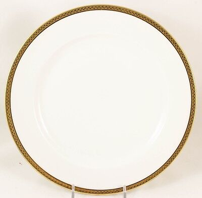 2 Antique Vignaud Limoges China Dinner Plates Raised Gold Encrusted Laurel White