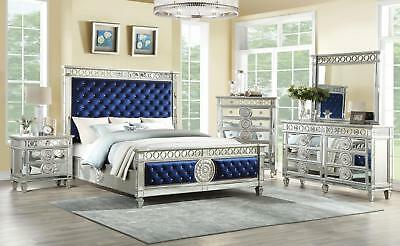 Glam King Bedroom Set 5 w/Chest Blue Velvet & Mirrored Inlay Varian 26147EK Acme