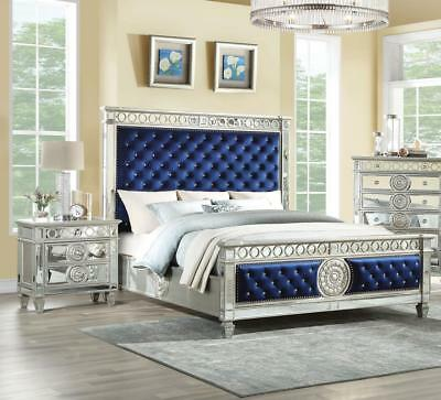 Glam King Bedroom Set 3P Blue Tufted Velvet & Mirrored Inlay Varian 26147EK Acme