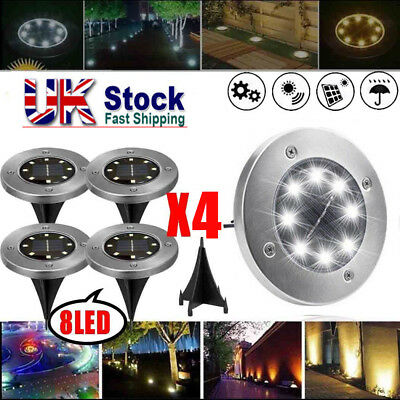 4X Solar Disk Lights 8 LED Buried Under Ground Lamp Waterproof Outdoor Xmas