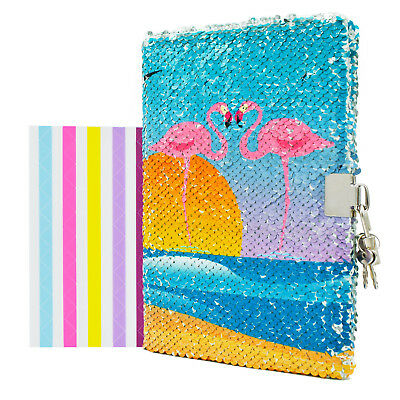 Creative Flamingo Diary Journal Glitter Sequin Lock Paper Notebook Writing Book