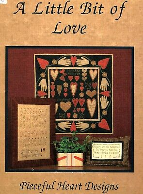 Little Bit Of Love-Oop Penny Rug/primitive Stitchery Book-Pieceful Heart Design