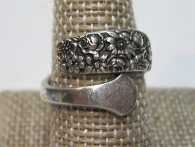 Vintage TOWLE Sterling Silver Adjustable Spoon Ring Floral Design 7g Sz 8 Signed