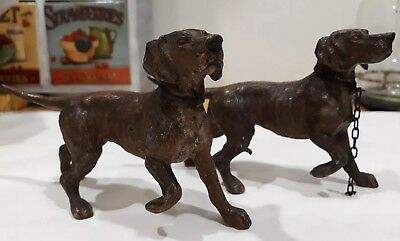 A Pair Of Antique Spelter Hunting Dogs Circa 1800's