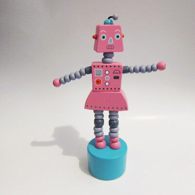 LARGE Classic Wooden Toy Female Girl ROBOT Push Puppet Pink with Turquoise Base
