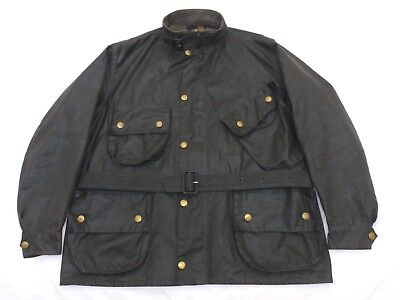 Cool Vintage Barbour International Wax Biker Jacket Mens 48 - 50 / 46 : Xl / Xxl