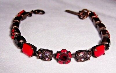 Amaro Assorted Shades Of Red Glass And Crystal Design Rectangle Stone Bracelet