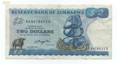 Zimbabwe 2 Dollars 1980 Pick 1 A Prefix Aa Look Scans