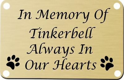 Personalised Pet Memorial Plaque Dog Cat Animal Engraved 100 x 40 mm ,Any pet