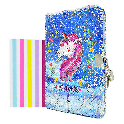 A5 Lined Notebook Diary with Lock Blue Sequin Unicorn Journal for Kids Students