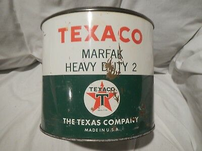 Vintage RARE TEXACO Gas Station 5 Pound Marfak Heavy Duty 2 Grease Can w/Cover