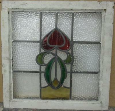 """OLD ENGLISH LEADED STAINED GLASS WINDOW Gorgeous Abstract Design 19.25"""" x 19"""""""
