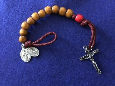 St Florian single decade rosary paracord w/ miraculous medal