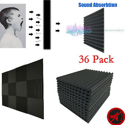 96 Pack Acoustic Foam Panels Studio Sound Insulation Soundproofing Wedge Tiles