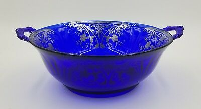 "Old 10 1/2"" Cobalt Blue Glass Bowl 2 Handles W/ Sterling Silver Overlay *marked"