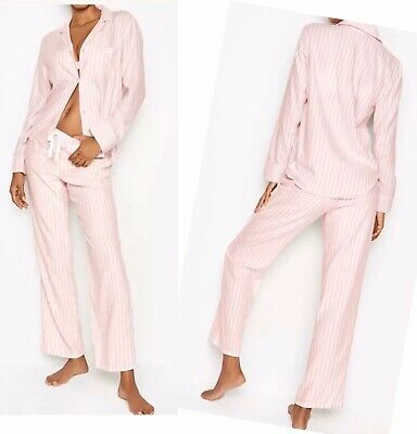 Victoria's  Secret Flannel Pj Set, Iconic Striped, Pink, Size S New