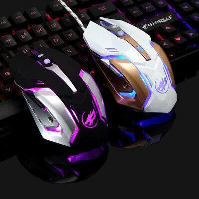 Wired LED Light 2400 DPI Optical USB Ergonomic Pro Gaming Mouse Metall Platte