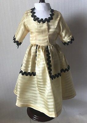 """Vintage Doll Dress Yellow 11"""" Clothes With Floral Bloomers 1950s Era"""