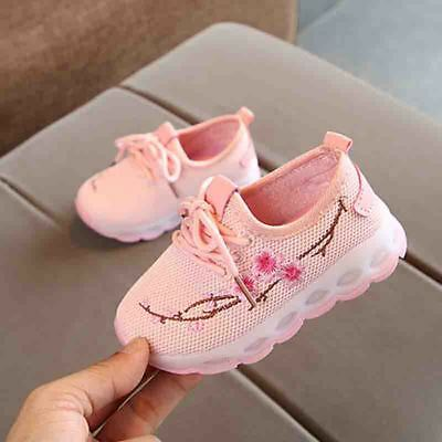 Baby Shoes Boys Girls Casual Embroidery Sneakers LED Luminous Trainers Walking