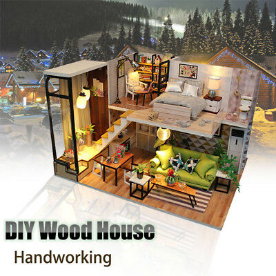 Handcraft DIY Wooden Toy Dollhouse Loft Apartments Miniature Kit Music LED Light