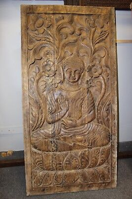 Vintage Sitting Buddha Door Panel Hand Carved Wooden Wall Decor Wall ART