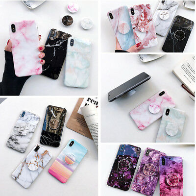 Slim CHIC Marble Put Out Holder Stand Soft Case Cover For iPhone 6s plus 7 plus