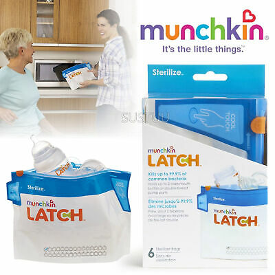 Munchkin Latch Steriliser Bag│Travel Convenient│Burn Free│30 Uses Per bag│6 Pack