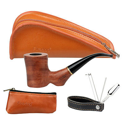 Smoking Pipe Rose Wood Tobacco Pipes Pouch Leather Stainless Steel Pipe Tamper