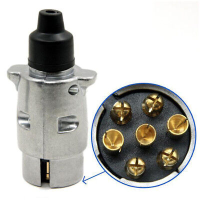 7 Pin Metal Trailer Plug Towbar Towing Lights Socket Car Van Caravan 12V