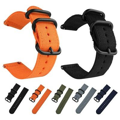 Fabric Woven Nylon Watch Strap Band Black Buckle Replacement Belt 20mm 24mm