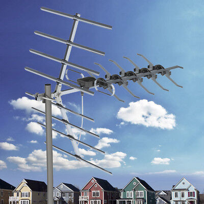200 Mile Outdoor TV Antenna Satellite Dishes Amplified HDTV 1080P Digital + Pole