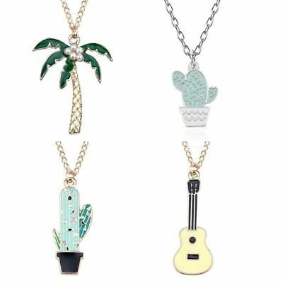 Fashion Cute Cartoon Cactus Coconut Tree Guitar Pendant Necklace Lady Jewellery