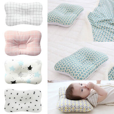 Newborn Baby Infant Cotton Pillow Positioner Prevent Flat Head Anti Roll 10Color