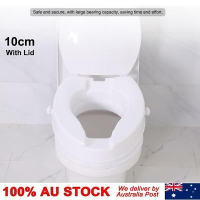 10cm Elevated Adjustable Detachable Raised Toilet Seat With Lid White Easy Clean