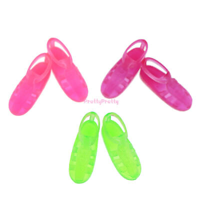 3 Different Summer Sandal Slippers Accessories Flat Shoes For Barbie Doll Gift A