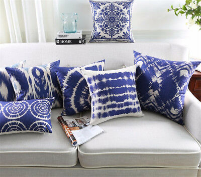 Nordic style Blue Classic Abstract Geometric Art Sofa Cushion Cover Pillow Case