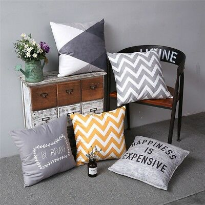 Simple Romantic Grey Geometric Colorful Stripe Sofa Cushion Cover Pillow Case