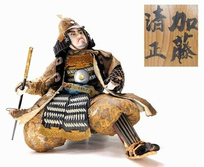 SUPERB Kato KIYOMASA Large Musha-Ningyo Samurai Doll 19thC Japan Meiji Antique