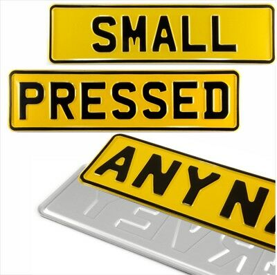 1x SMALL YELLOW 340x90mm kids name text age pressed number plate metal aluminium