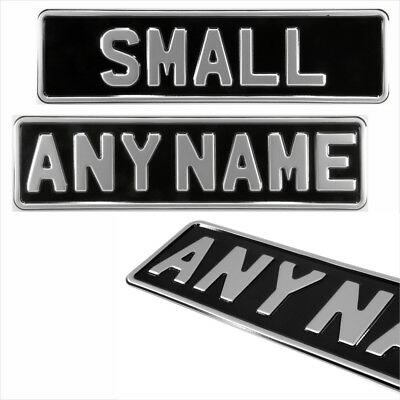 1x SMALL black and silver 340x90 kids name pressed number plate metal aluminium