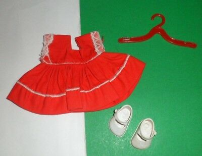 VINTAGE VOGUE GINNY DOLL CLOTHES outfit KINDER CROWD #6024 1950's RED DRESS