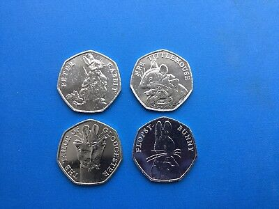 Sale Full Set Of 4 Beatrix Potter 50P 2018 Uncirculated Coins From Sealed Bags