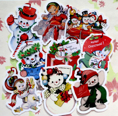 9 Gift Tags for Christmas ~ Snowman~Paper Ornaments~ Vintage Card Images