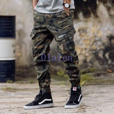 Fall Mens Stylish Slim Fit Camouflage Casual Skinny Frock Pant Ninth Trouser New