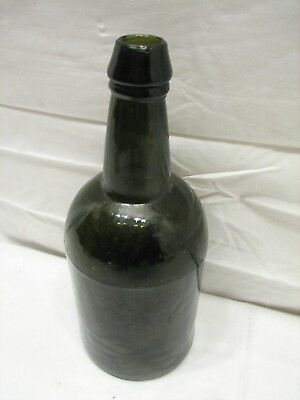 Antique Dark Olive Green Glass Whiskey Bottle Applied Top/Neck Large Punt