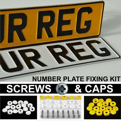 Pair Standard Metal Pressed Number Plates MOT UK Road Legal Car Registration Alu