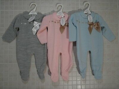 Spanish Style Knitted Baby Boy Girl Romper Grey Blue Pink bow 0-3 m - 18 months