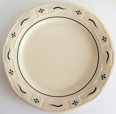 "Longaberger Pottery 10"" Dinner Plate Heritage Green Woven Traditions USA"